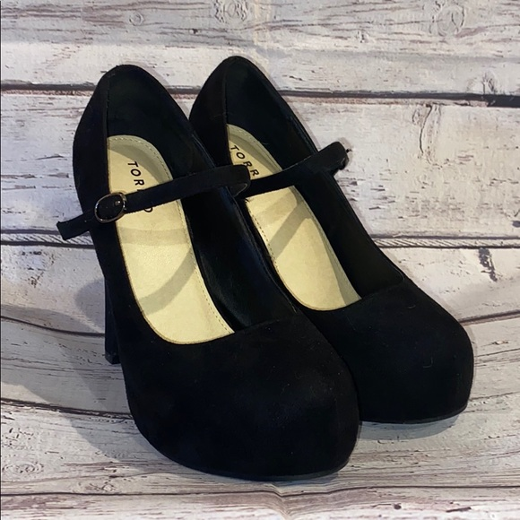 Buckle Black Suede Platform Heels